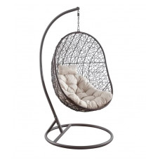 Подвесное кресло KIWI белый + коричневый