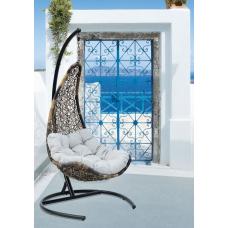 Подвесное кресло Wind белый+коричневый